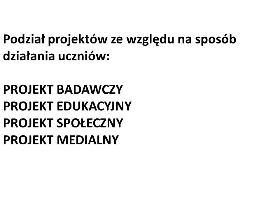 Podział projektów ze względu na sposób działania uczniów: