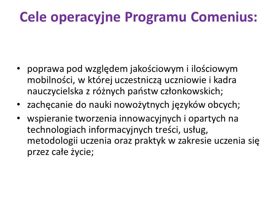 Cele operacyjne Programu Comenius: