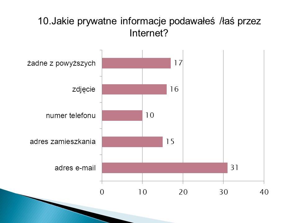 10.Jakie prywatne informacje podawałeś /łaś przez Internet