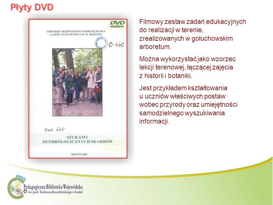 Płyty DVDFilmowy zestaw zadań edukacyjnych do realizacji w terenie, zrealizowanych w gołuchowskim arboretum.