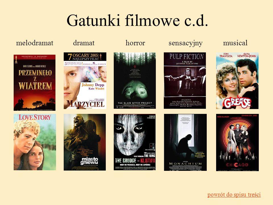 Gatunki filmowe c.d. melodramat dramat horror sensacyjny musical