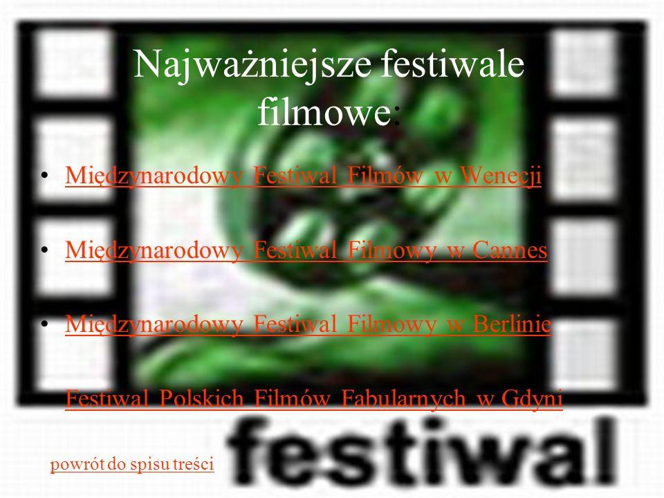 Najważniejsze festiwale filmowe: