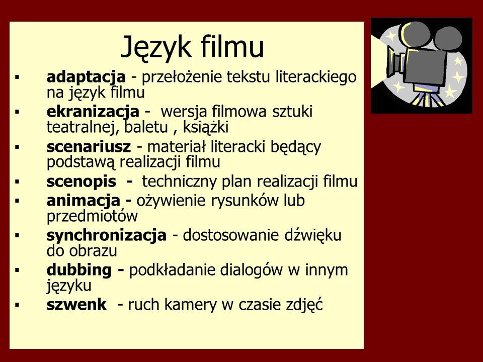 Język filmu adaptacja - przełożenie tekstu literackiego na język filmu
