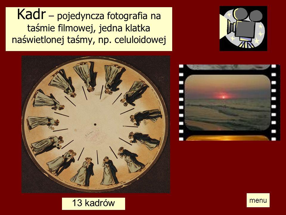 Kadr – pojedyncza fotografia na taśmie filmowej, jedna klatka naświetlonej taśmy, np. celuloidowej