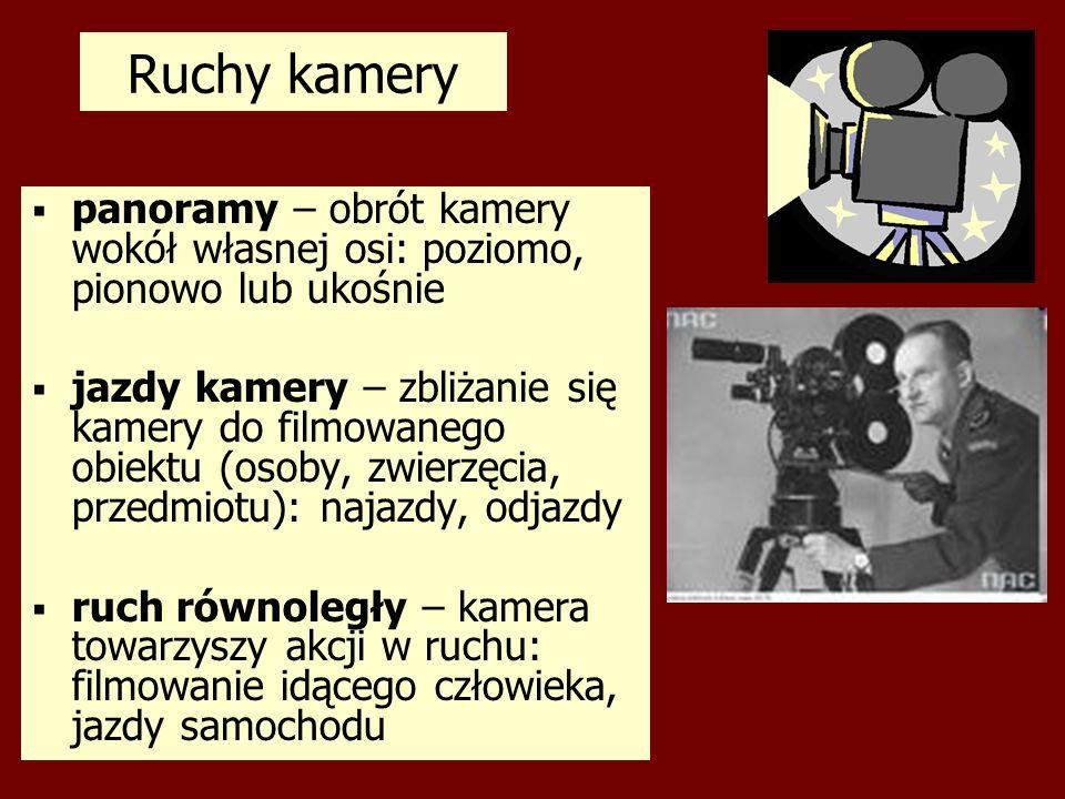 Ruchy kamerypanoramy – obrót kamery wokół własnej osi: poziomo, pionowo lub ukośnie.
