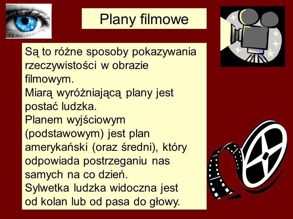 Plany filmowe Są to różne sposoby pokazywania rzeczywistości w obrazie filmowym. Miarą wyróżniającą plany jest postać ludzka.