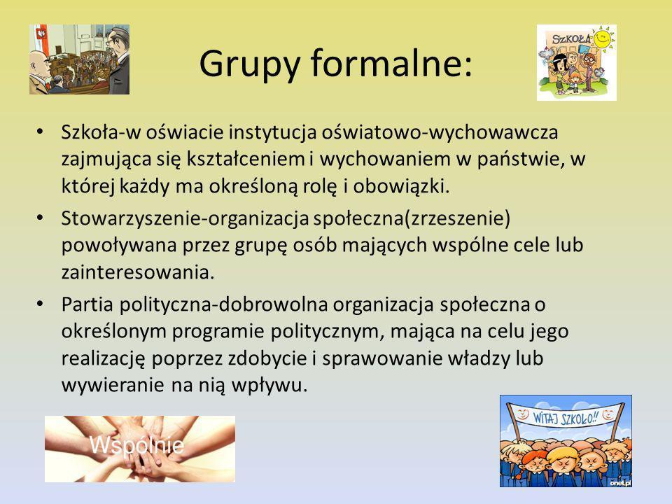 Grupy formalne: