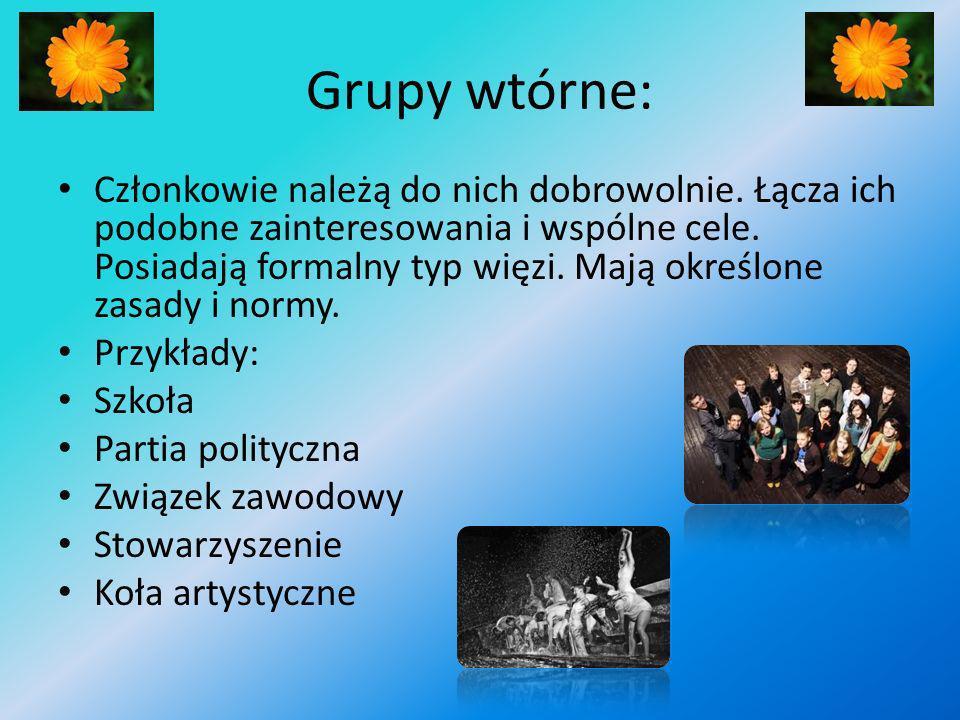 Grupy wtórne: