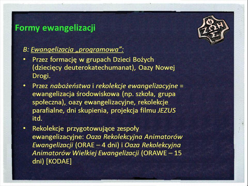 """Formy ewangelizacji B: Ewangelizacja """"programowa :"""