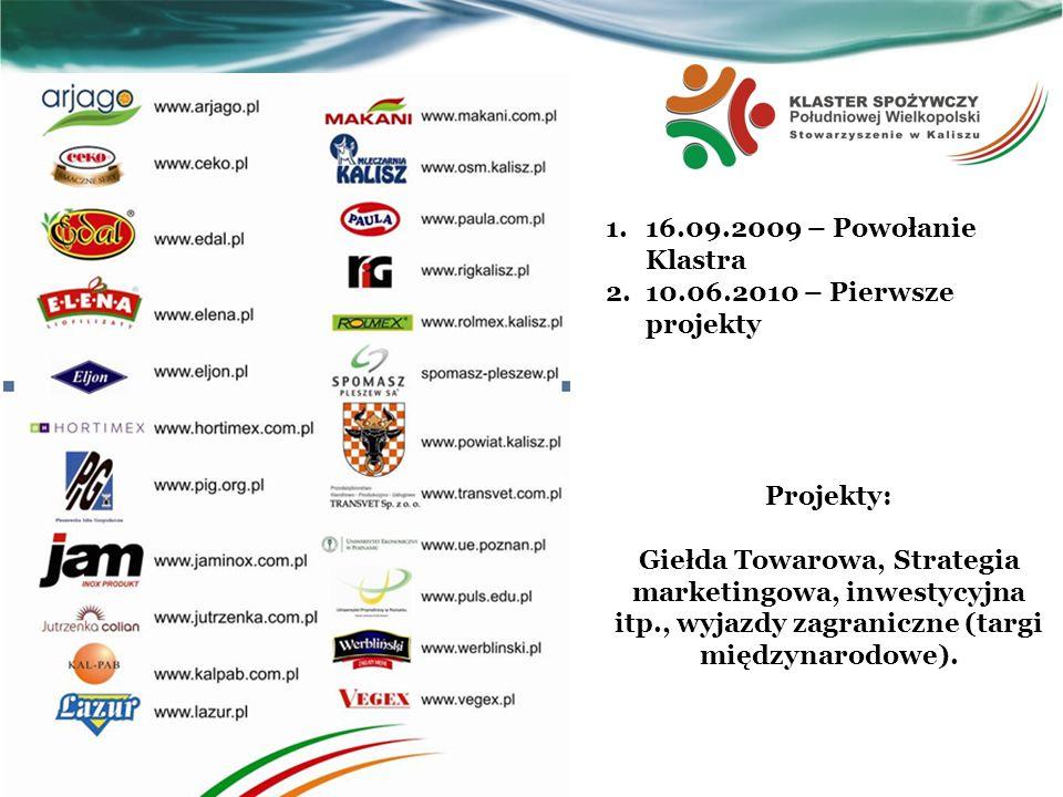 16.09.2009 – Powołanie Klastra 10.06.2010 – Pierwsze projekty. Projekty: