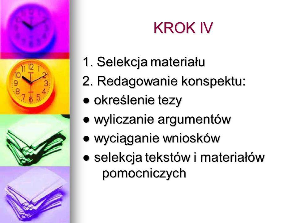 KROK IV 1. Selekcja materiału 2. Redagowanie konspektu: