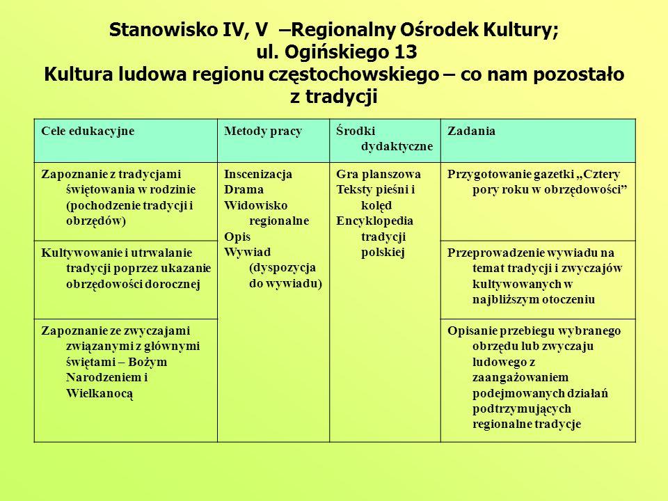 Stanowisko IV, V –Regionalny Ośrodek Kultury; ul