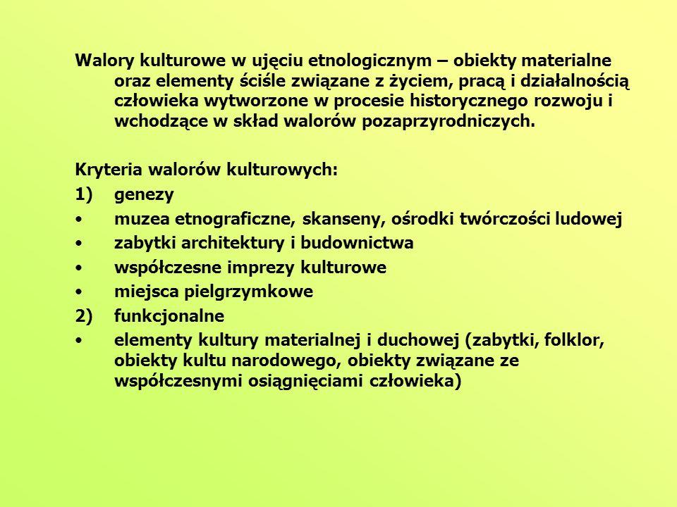 Walory kulturowe w ujęciu etnologicznym – obiekty materialne oraz elementy ściśle związane z życiem, pracą i działalnością człowieka wytworzone w procesie historycznego rozwoju i wchodzące w skład walorów pozaprzyrodniczych.