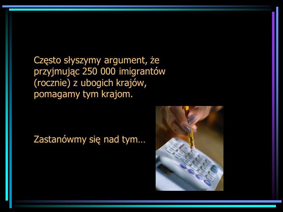 Często słyszymy argument, że przyjmując 250 000 imigrantów (rocznie) z ubogich krajów, pomagamy tym krajom.