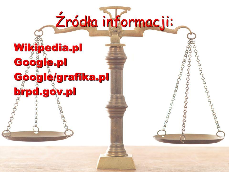 Źródła informacji: Wikipedia.pl Google.pl Google/grafika.pl brpd.gov.pl