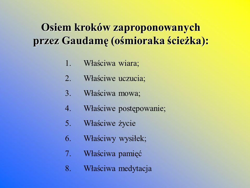 Osiem kroków zaproponowanych przez Gaudamę (ośmioraka ścieżka):