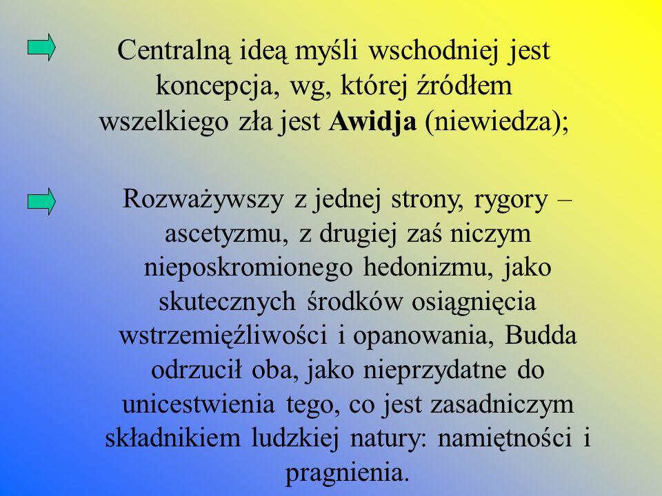 Centralną ideą myśli wschodniej jest koncepcja, wg, której źródłem wszelkiego zła jest Awidja (niewiedza);