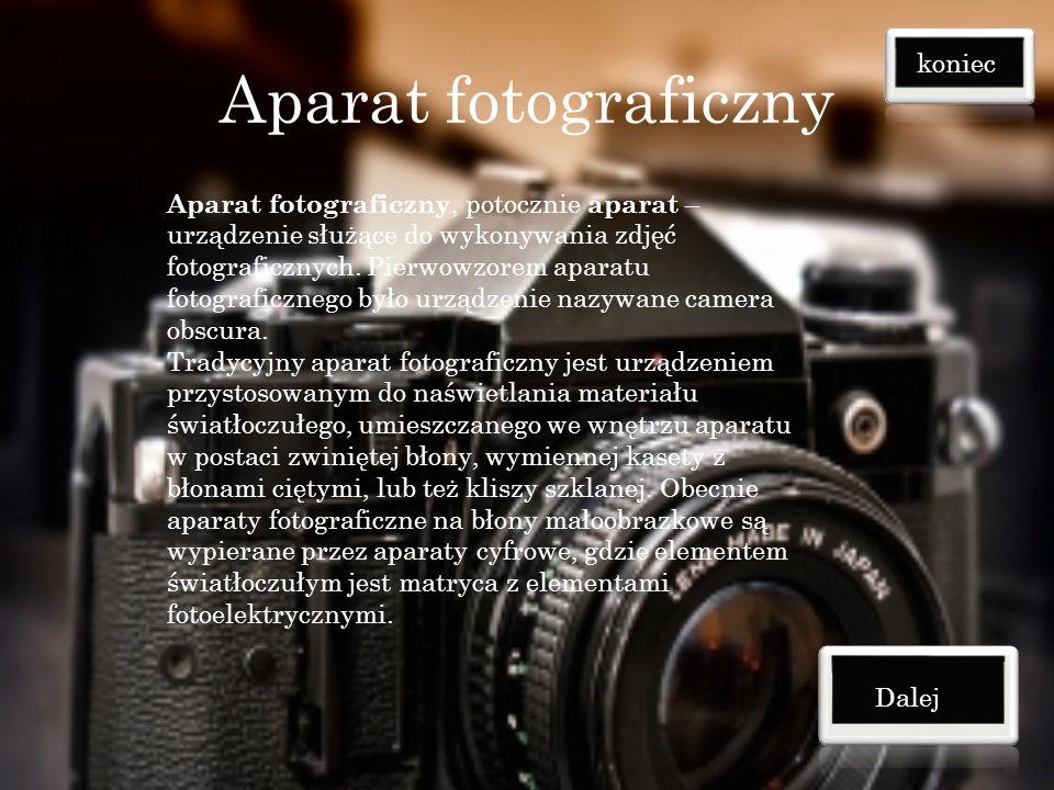 Aparat fotograficzny koniec
