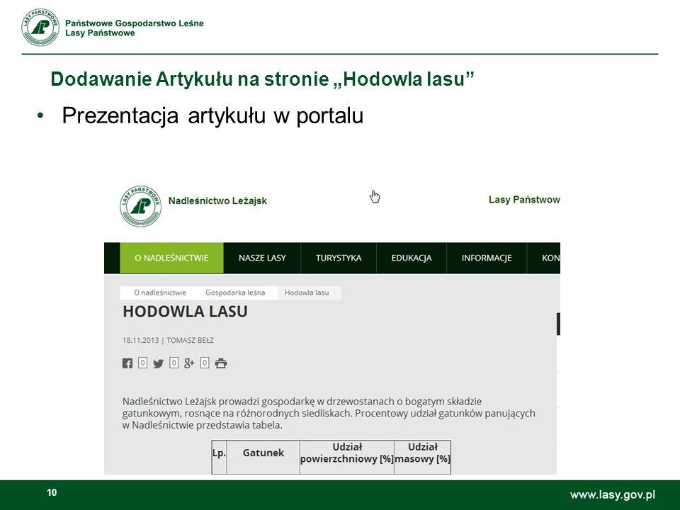Prezentacja artykułu w portalu