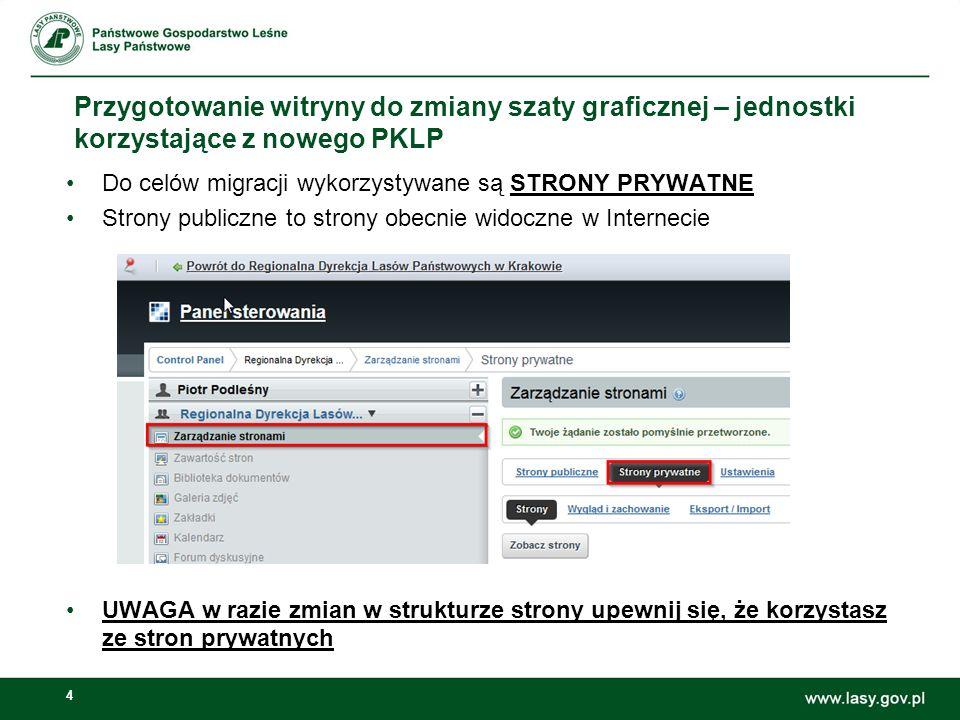 Przygotowanie witryny do zmiany szaty graficznej – jednostki korzystające z nowego PKLP