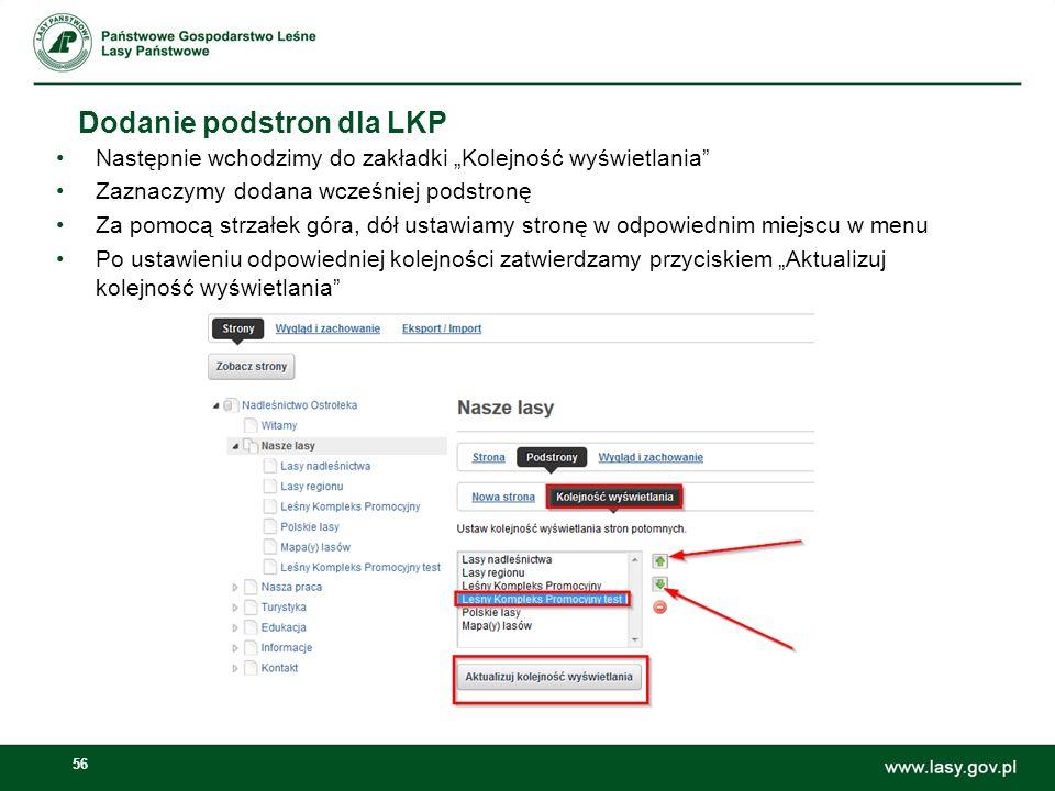Dodanie podstron dla LKP