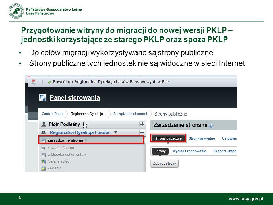 Przygotowanie witryny do migracji do nowej wersji PKLP – jednostki korzystające ze starego PKLP oraz spoza PKLP