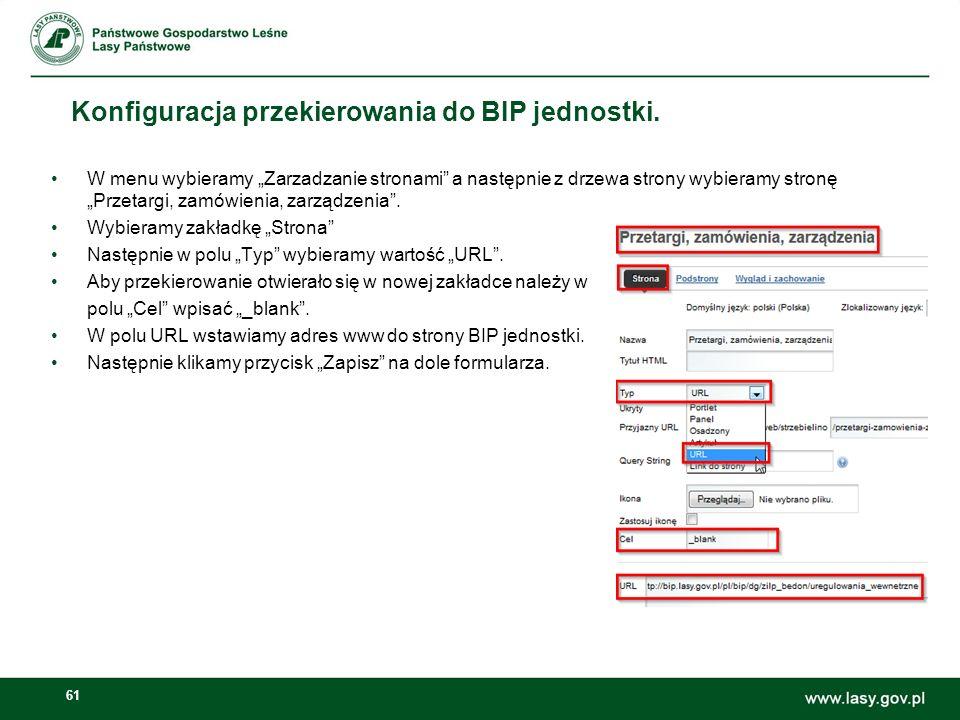 Konfiguracja przekierowania do BIP jednostki.