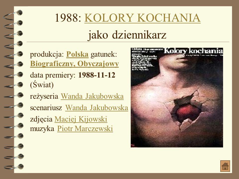 1988: KOLORY KOCHANIA jako dziennikarz