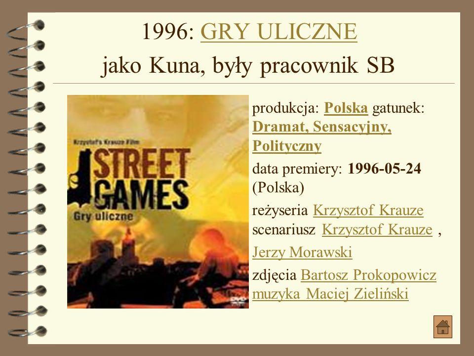 1996: GRY ULICZNE jako Kuna, były pracownik SB