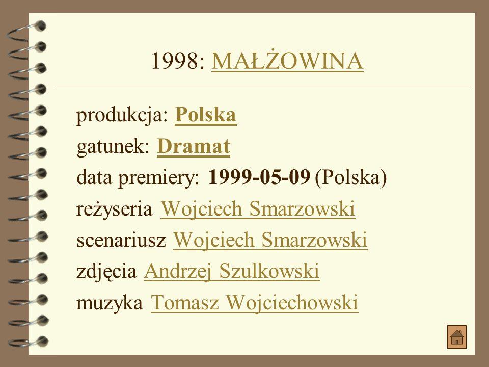 1998: MAŁŻOWINA produkcja: Polska gatunek: Dramat