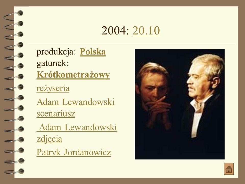 2004: 20.10 produkcja: Polska gatunek: Krótkometrażowy reżyseria