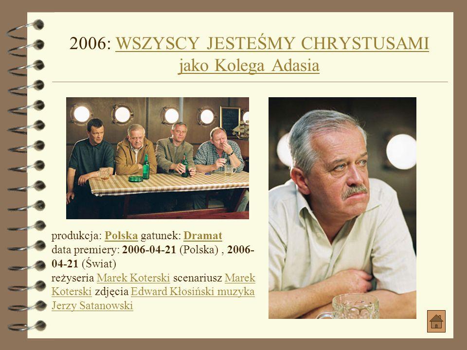 2006: WSZYSCY JESTEŚMY CHRYSTUSAMI jako Kolega Adasia