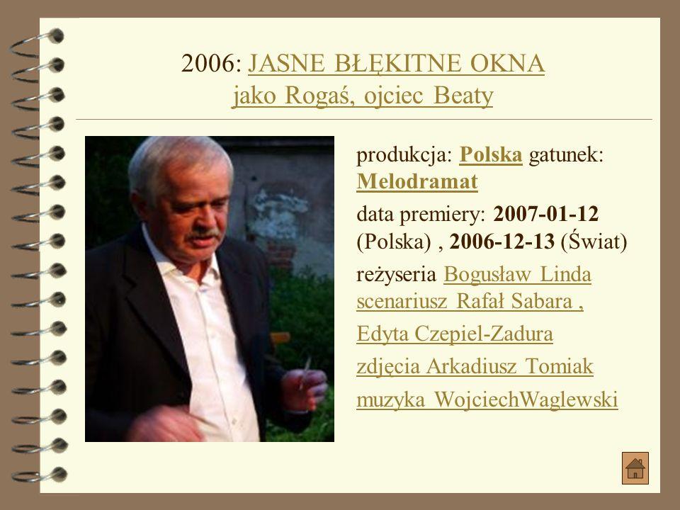 2006: JASNE BŁĘKITNE OKNA jako Rogaś, ojciec Beaty