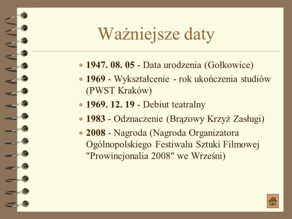 Ważniejsze daty 1947. 08. 05 - Data urodzenia (Gołkowice)