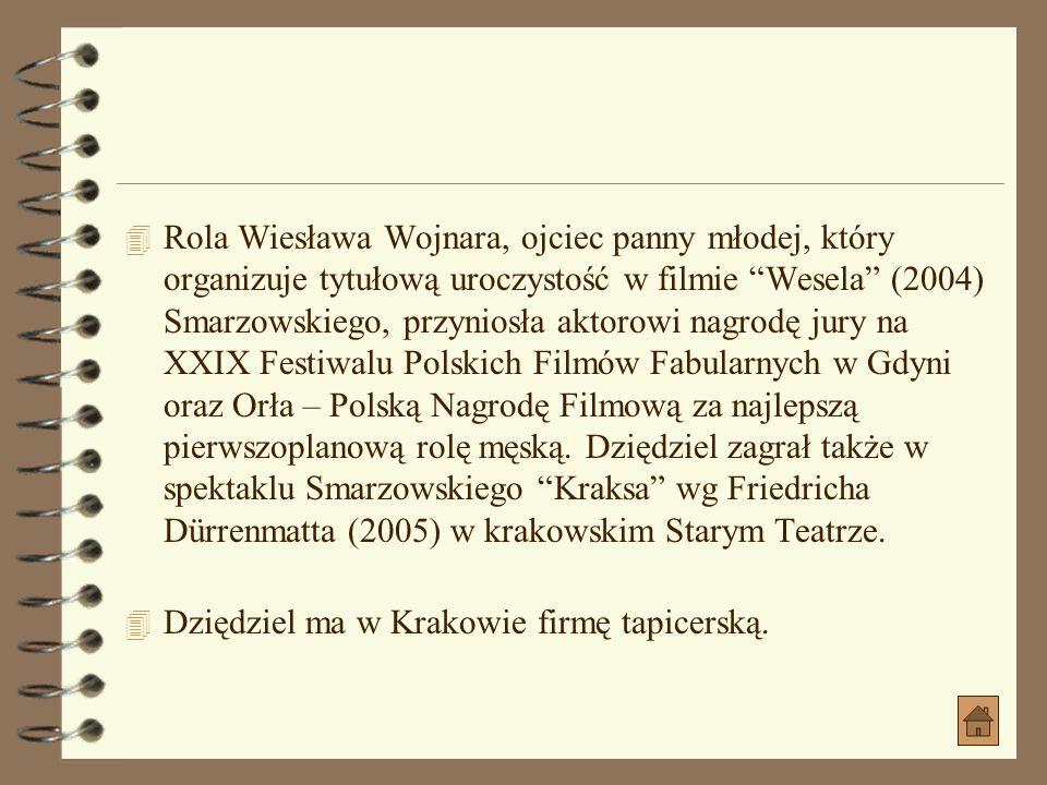 Rola Wiesława Wojnara, ojciec panny młodej, który organizuje tytułową uroczystość w filmie Wesela (2004) Smarzowskiego, przyniosła aktorowi nagrodę jury na XXIX Festiwalu Polskich Filmów Fabularnych w Gdyni oraz Orła – Polską Nagrodę Filmową za najlepszą pierwszoplanową rolę męską. Dziędziel zagrał także w spektaklu Smarzowskiego Kraksa wg Friedricha Dürrenmatta (2005) w krakowskim Starym Teatrze.