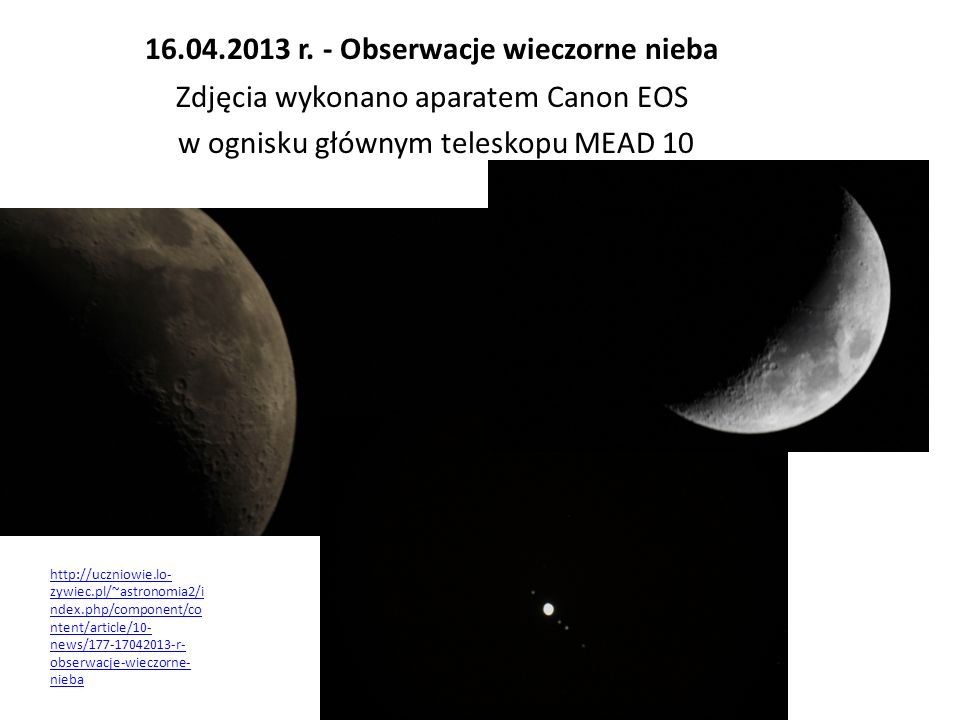 16.04.2013 r. - Obserwacje wieczorne nieba