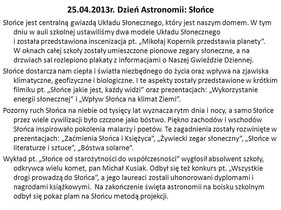 25.04.2013r. Dzień Astronomii: Słońce