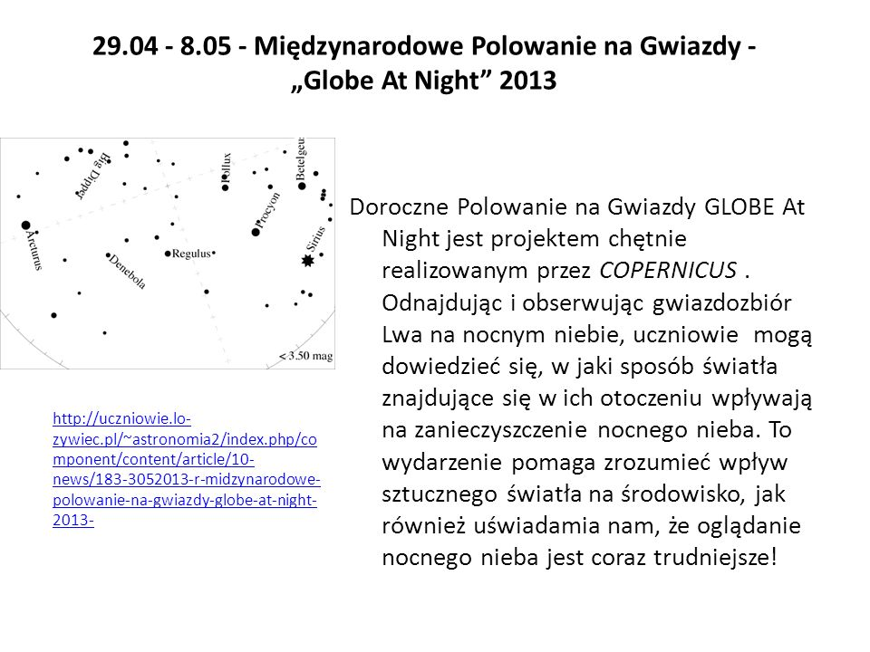 """29.04 - 8.05 - Międzynarodowe Polowanie na Gwiazdy - """"Globe At Night 2013"""