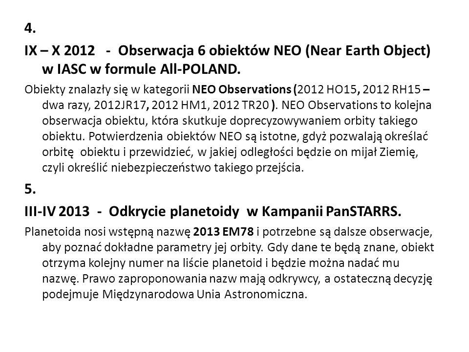 III-IV 2013 - Odkrycie planetoidy w Kampanii PanSTARRS.