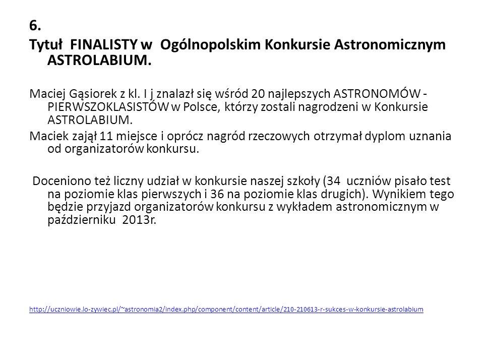 Tytuł FINALISTY w Ogólnopolskim Konkursie Astronomicznym ASTROLABIUM.