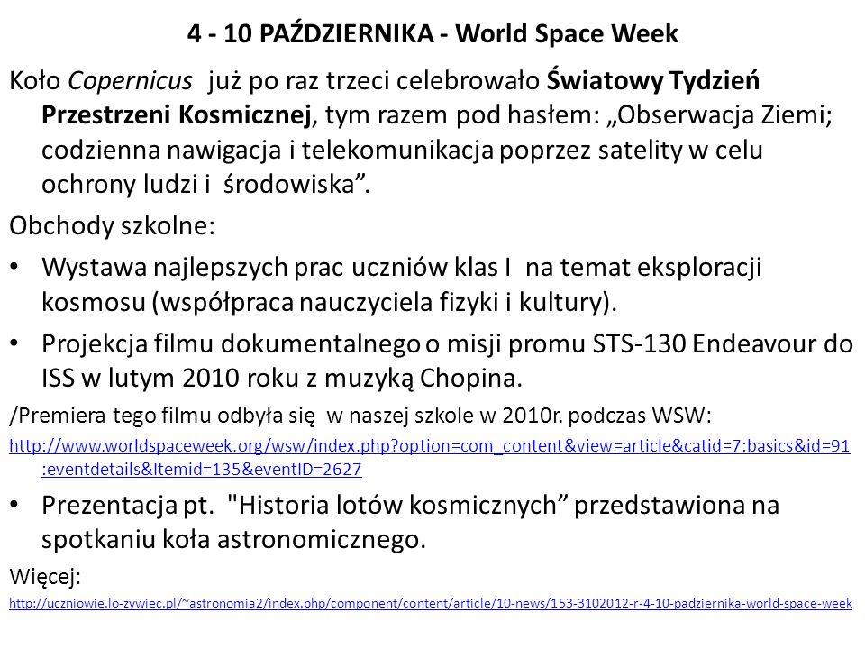 4 - 10 PAŹDZIERNIKA - World Space Week