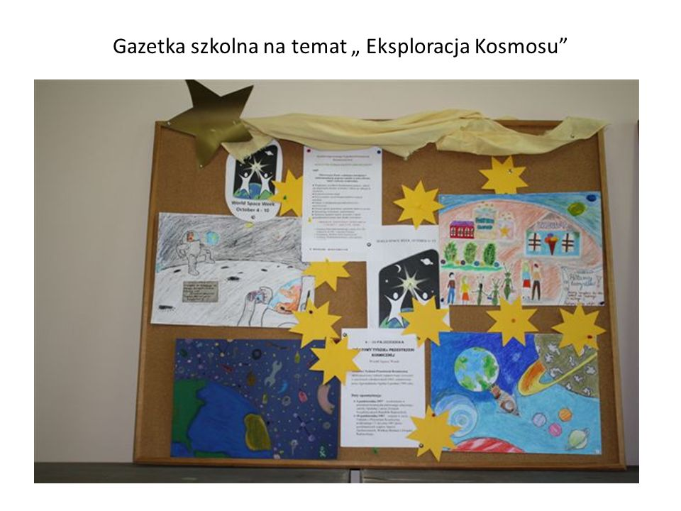 """Gazetka szkolna na temat """" Eksploracja Kosmosu"""