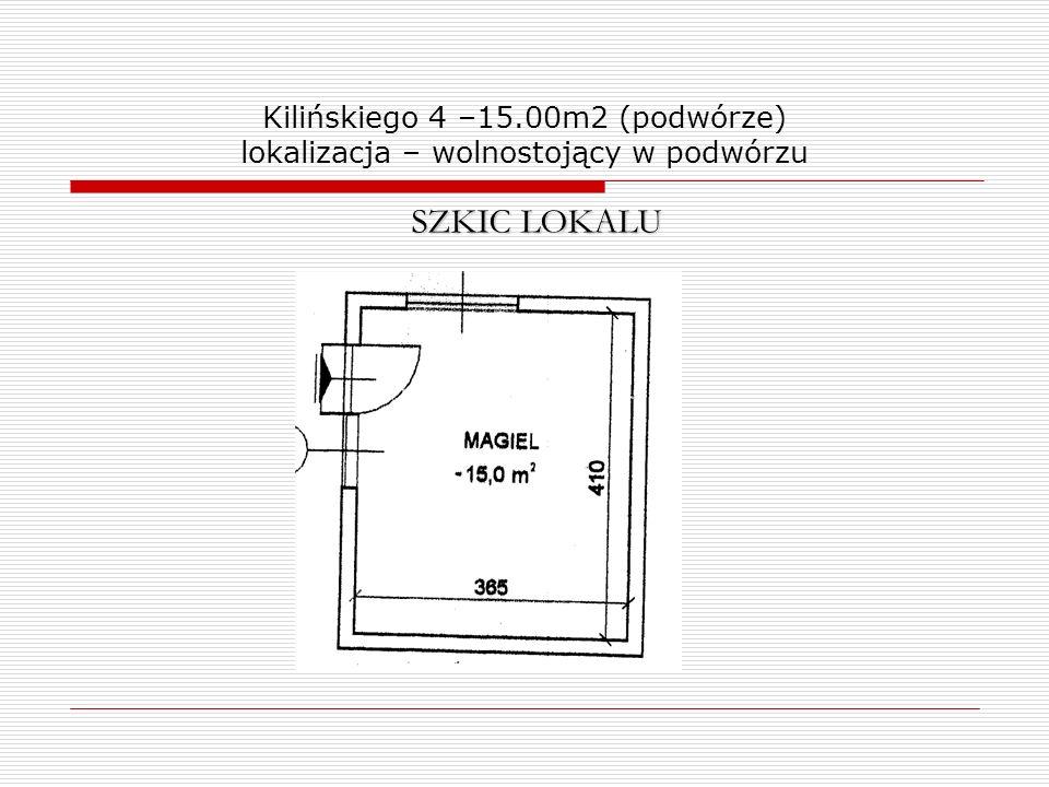 Kilińskiego 4 –15.00m2 (podwórze) lokalizacja – wolnostojący w podwórzu