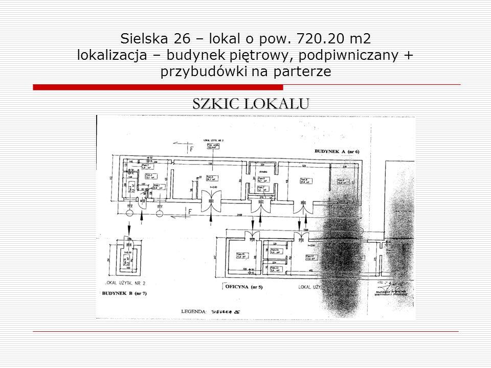 Sielska 26 – lokal o pow. 720.20 m2 lokalizacja – budynek piętrowy, podpiwniczany + przybudówki na parterze