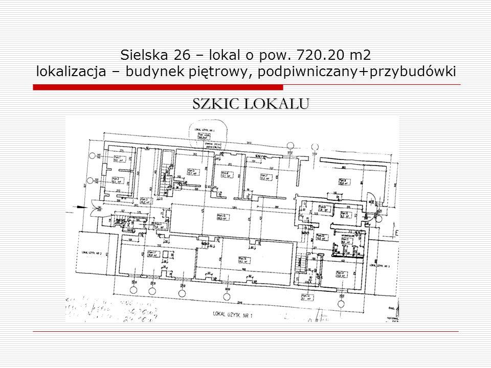 Sielska 26 – lokal o pow. 720.20 m2 lokalizacja – budynek piętrowy, podpiwniczany+przybudówki