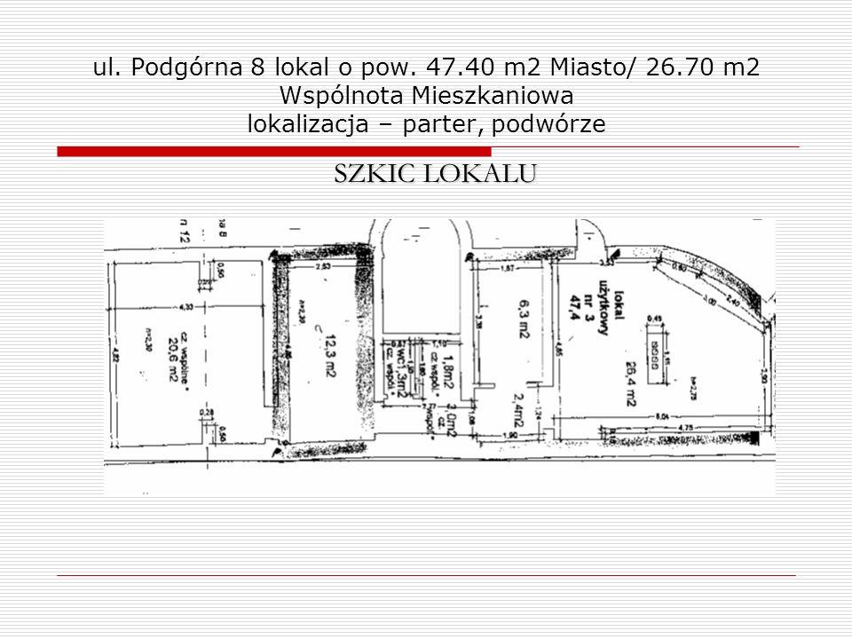 ul. Podgórna 8 lokal o pow. 47. 40 m2 Miasto/ 26