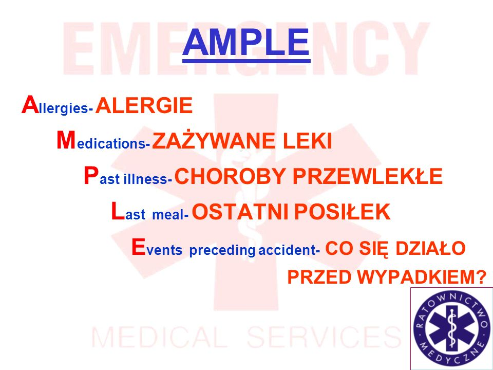 AMPLE Allergies- ALERGIE Medications- ZAŻYWANE LEKI