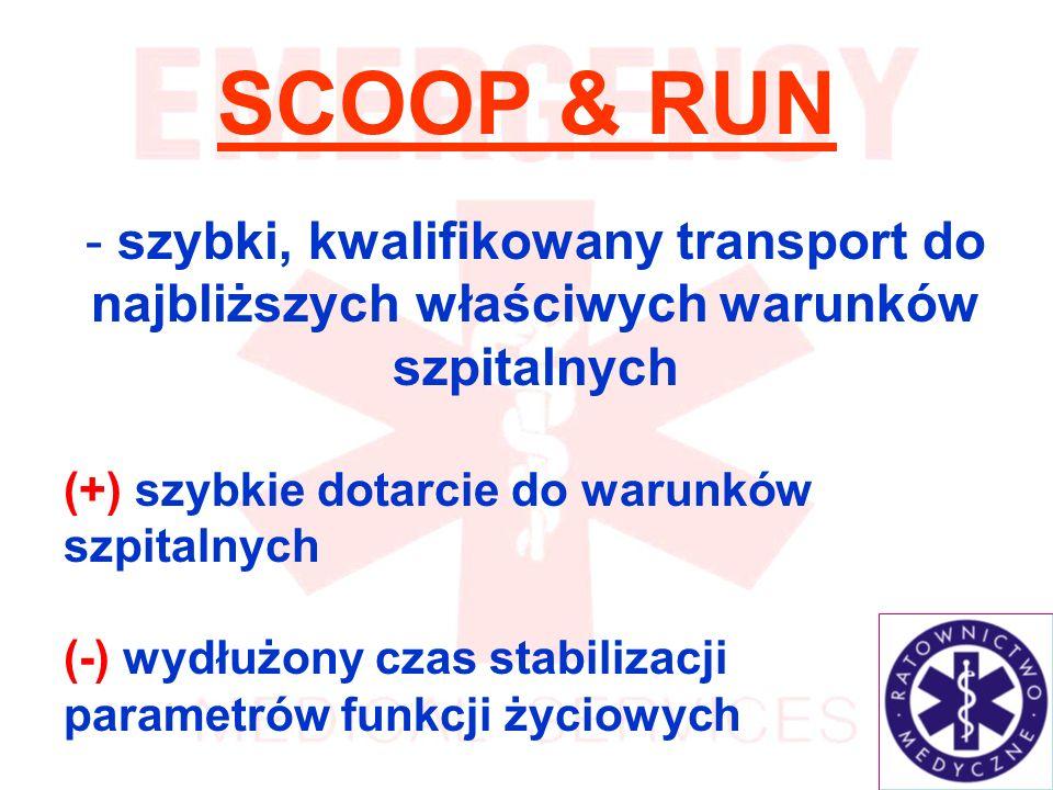 SCOOP & RUN szybki, kwalifikowany transport do najbliższych właściwych warunków szpitalnych. (+) szybkie dotarcie do warunków szpitalnych.