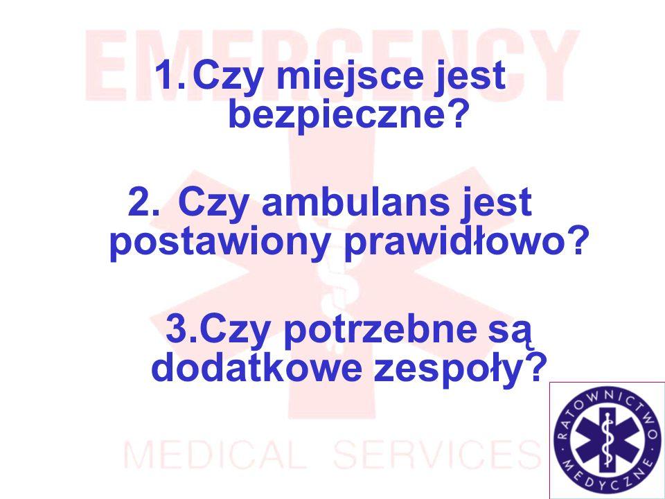 Czy miejsce jest bezpieczne Czy ambulans jest postawiony prawidłowo