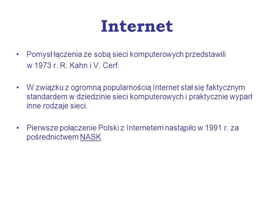Internet Pomysł łączenia ze sobą sieci komputerowych przedstawili